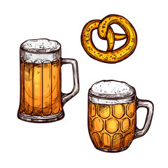 Beer glass and bavarian pretzel isolated sketch