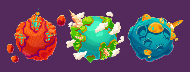 Set of vector cartoon illustrations fantasy alien planets with buildings and other structures on them