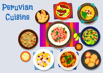 Peruvian cuisine icon with seafood dishes