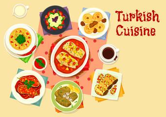 Turkish cuisine tasty lunch icon design