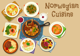Norwegian cuisine fish and meat dishes icon