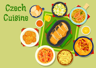 Czech cuisine traditional dishes icon design