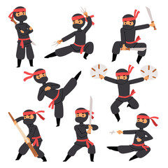 Different poses of ninja fighter in black cloth character warrior sword martial weapon japanese man and karate cartoon person action mask kick vector.