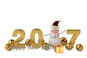 2017 Happy New Year with snowman.3D illustration.