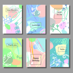 Set of artistic colorful universal cards. Wedding, anniversary, birthday, holiday, party. Design for poster, card, invitation.