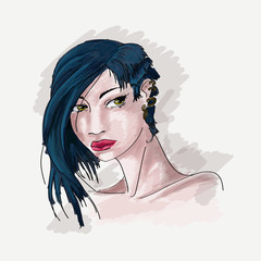 girl, blue hair portrait