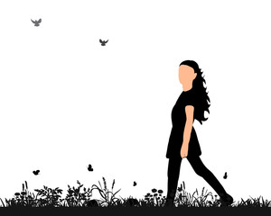 isolated silhouette of a girl walking