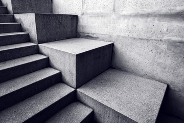 Urban concrete staircase, abstract architectural background