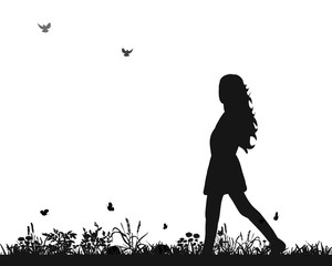 silhouette of a girl walking