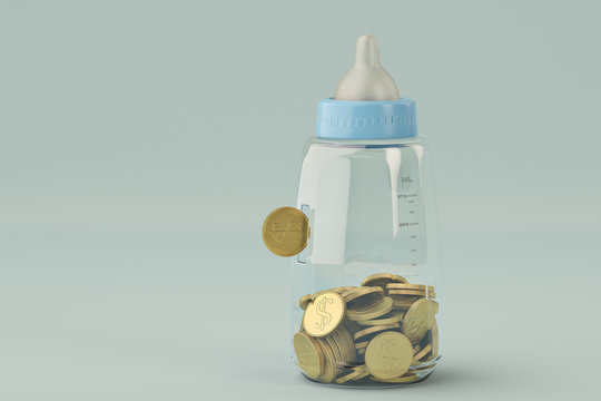 Baby bottles bank and gold coin on blue background. 3d illustration