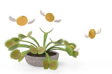 Flytrap with flying gold coins.3D illustration.