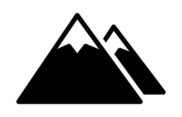 Two mountain peaks with snow flat vector icon for outdoor apps and websites