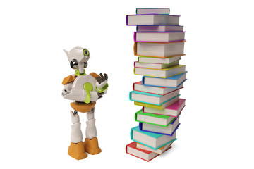 Robot with a pile of books,3D illustration.