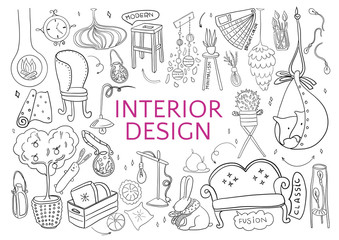 Be creative for interior design. Doodle hand drawn black elements on white background.