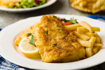 Fried cod with chips.