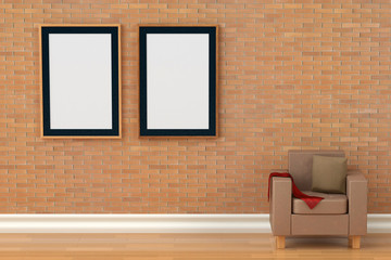 Two photo frames on the brick wall,3D illustration.