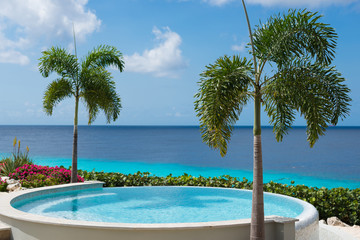 Clear water of round swimming pool and tropical blue ocean, palm trees - paradise on the Earth