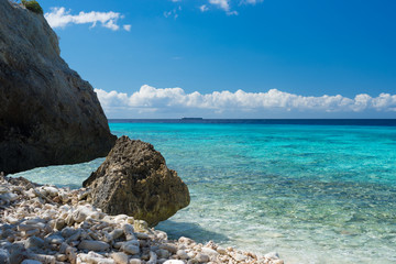 Rocks and clear water - swim paradise on tropical Curacao island, all seasons