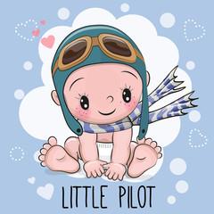 Baby boy in a pilot hat