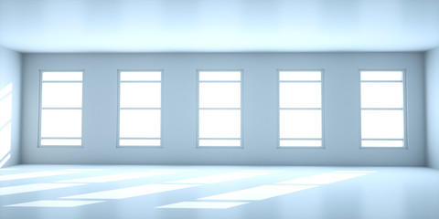 Abstract white interior with windows, 3d render