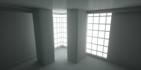 Abstract concept gray interior, 3d render