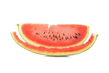 Watermelon slice eaten, isolated on white background