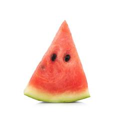 Slice of watermelon single on white background
