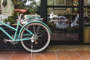 Fototapeten Fahrrad Bicycle Bike Vintage Cafe Shop Window Concept