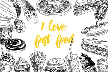 Vector hand drawn sea food Illustration.