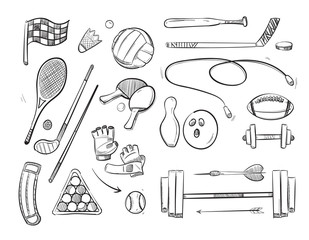 Doodle sketch sports and fitness vector icons
