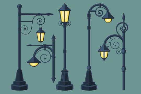 Cartoon, comic book vintage and modern street lights vector set