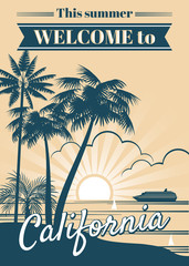 California republic vector poster with palm trees, sport t shirt surfing graphics