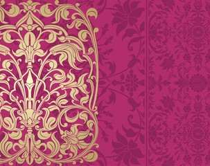 wedding card design, paisley floral pattern , royal India