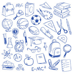 School education, science, geography, biology, physics, mathematics, astronomy, chemistry doodle, sketch drawing vector icons
