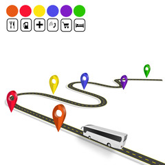 Infographics. Bus. Sign navigator. Winding road with markings. A perspective view. Isolated illustration