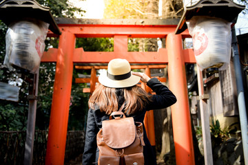 Tourist is visiting at Torii Gate in Ueno Park, Tokyo, Japan.