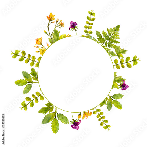 Circle Frame With Painted Watercolor Green Plants And Wild Flowers Nature Inspired Border For Natural