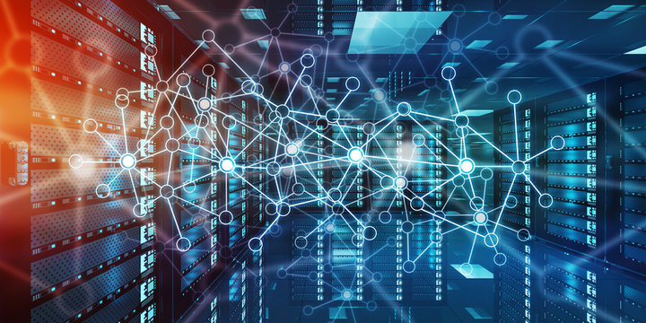 Abstract network on server room data center 3D rendering