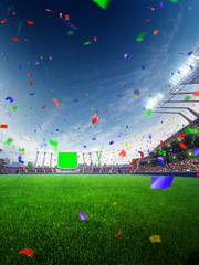 stadium day Confetti and tinsel with people fans. 3d render illustration cloudy sky