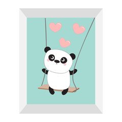 Panda ride on the swing. Pink flying hearts. Cute fat cartoon character. Kawaii baby collection. Picture frame. Love card. Flat design. Funny kids style. Blue sky background. Isolated.