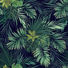 Bezszwowa ręka rysujący botaniczny egzotyczny wektoru wzór z zieloną palmą opuszcza na ciemnym tle.