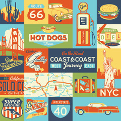 American travelers trip coast to coast icons vector seamless pattern