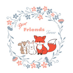 doodle set of best friends forever, cute fox, rabbit and  squirrel in floral frames hand drawing vector illustration for kid  t-shirt print, greeting and invitation card