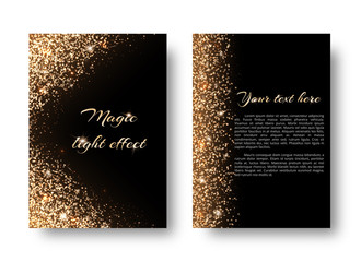 Glimmer background with glowing lights. Glittering gold on a black backdrop.