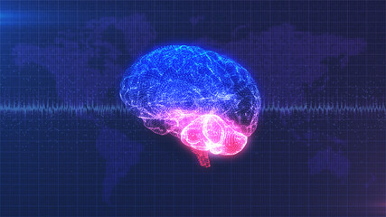 Computer generated digital brain with moving brainwave in front of data map of the Earth