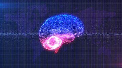 CGI rendered computer brain model with brainwave in front of data style Earth map