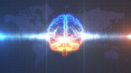 Computer generated digital brain with brainwave in front of data map of the Earth