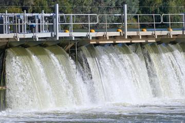 Aerial view of Mildura Weir. Location: River Murray, Mildura, Victoria. Murray River Locks.