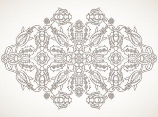Arabesque vintage element outline for design template vector