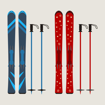 set of ski and ski sticks - winter equipment - vector illustration